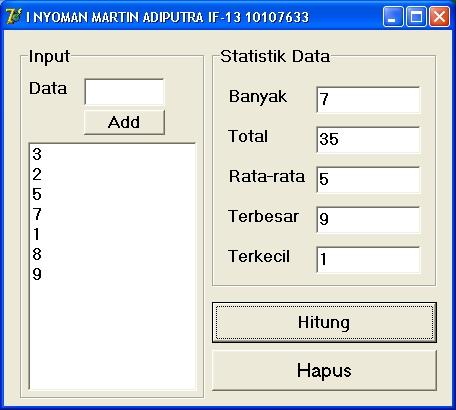 statistik data Delphi
