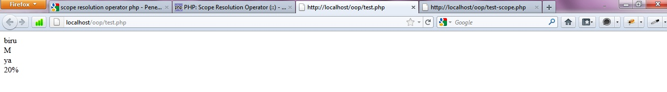 OOP PHP - Scope Resolution Operator